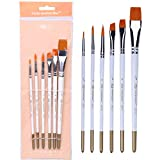 CAIM-penna Set di pennelli per Capelli in Nylon a Forma di ventaglio 6 Bastoncini Pennello per Acquerello Pennello per Pittura fine (Color : White)