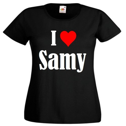"""T-Shirt """"I Love Samy"""" für Damen Herren und Kinder ... in der Farbe Schwarz Schwarz"""