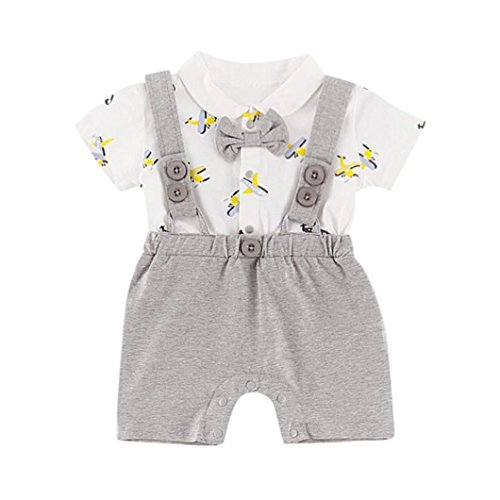 Culater 2018 new newborn summer boys vestiti da gentiluomo ❤️❤pantalone plane top t-shirt + bretelle shorts 2 pezzi set per baby boy (12-18 mesi, grigio)