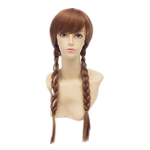 COSPLAZA Cosplay Perruque 50cm longue Frozen Snow Princess Queen Anna Femme Kanekalon Party Cheveux brune
