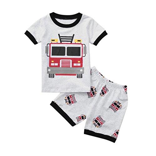 Sonnena 2pcs Baby Kleikind Junge Kurzarm Karikatur Bagger Print T-Shirt Blusen Tops +LKW Drucken Kurzhosen Shorts Outfit Set Mode Sommerkleidung Strandkleidung (2Y, Grau) (Mädchen Superman Outfit)