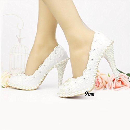 QPYC Scarpe da sposa con strass per donna, scarpe da sposa, scarpe da damigella, scarpe da sposa, strass, scarpe da sposa, strass, scarpe da sposa 9cm