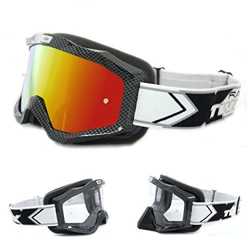 TWO-X EVO V2 Crossbrille Carbon Iridium verspiegelt MX Brille Motocross Enduro Spiegelglas Motorradbrille Anti Scratch MX Schutzbrille