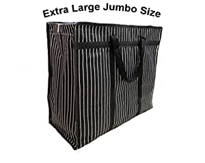 sanjis enterprises Multipurpose Extra Large Big Heavy Duty Storage Organizer Canvas Bag with Strong Handles and Base with Covers Zip (25x11x21 Inch, Black)