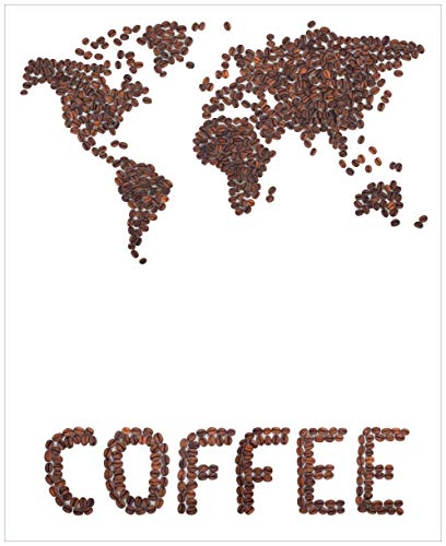 Wallario Magnet für Kühlschrank/Geschirrspüler, magnetisch haftende Folie - 65 x 80 cm, Motiv: Weltkarte mit Schriftzug aus Kaffeebohnen