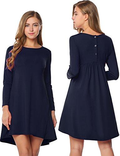 Damen Elegante Skater Kleider Langarm Rundhals Stretch Asymmetrisch PartyKleid Freizeitkleid mit Taschen