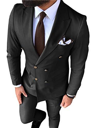 zug 2-teilig Zweireiher Bräutigam Smoking Slim Fit Notch Revers Tailcoat Für Hochzeit(Blazer + Hose)(34S, Schwarz) ()