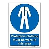 Vêtements de protection Doivent être Portés dans cette Zone de sécurité obligatoire, Plastique rigide, A4 210 x 297mm...