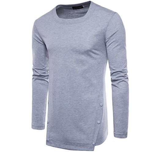 Herren Oberteile,TWBB Vintage Einfarbig Unregelmäßig Casual Shirt Männer Tops O-Ausschnitt Lange Ärmel Schlank Hemd Persönlichkeit Sweatshirts