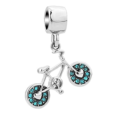Uniqueen Green Rhinestone Crystal Bicycle Dangle Charms Beads fit European Snake Charm Bracelet