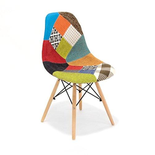 Customobel Wooden Patchwork Silla Tapizada con Patas de Madera, Tela, Multicolor, 50.45 x 46.50 x 83.50 cm