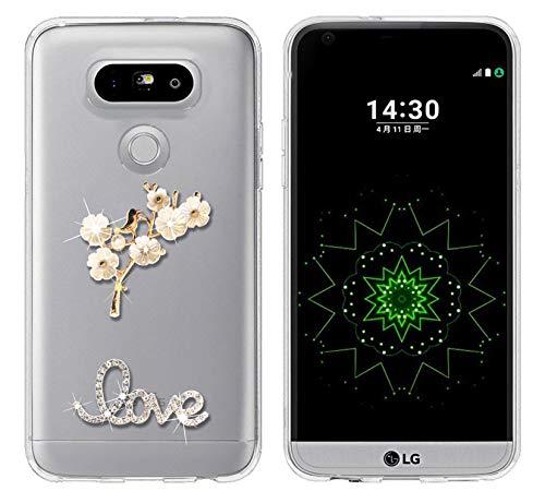 Sunrive cover per lg g6, glitter strass bling diamante custodia case in molle trasparente silicone morbida flessibile antigraffio protettiva back(uccello)