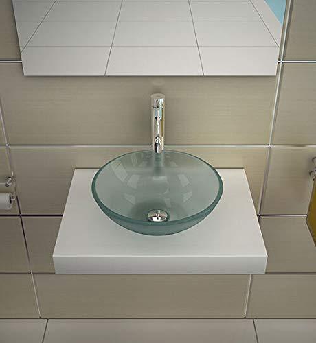 Rundes Glaswaschbecken Ø 38 cm aus starkem Milchglas ESG 12 mm | Elegantes und Formschönes Erscheinungsbild | Glaswaschschale von bester Qualität und Verarbeitung | Alpenberger Design -