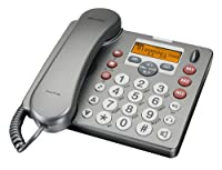 Amplicomms Powertel 980 DECT/Corded Combo Phone Pack with Remote Emergency Pendant - Anthracite