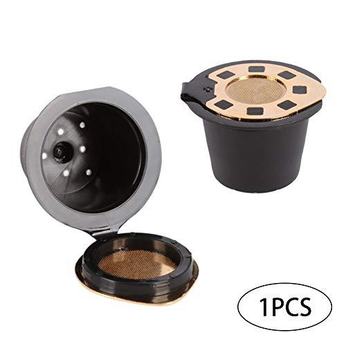 Deanyi Inoxidable con Tapa de cápsulas de café para Nespresso cafetera Eco Filtro Reutilizable 3-5 g al café molido (Chapado en Oro)