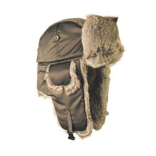 Mad Bomber Hat (Mad Bomber Supplex Bomber Hat mit Braun Fell, Herren, grau, Größe S)