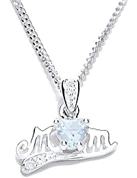 MiChic Jewellery Silver Birthstone Mum Pendant with 46 cm Chain Month Birthstones