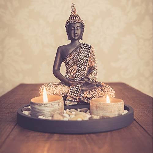 Buddha Sitzend mit Teelicht Deko-Statue - 7