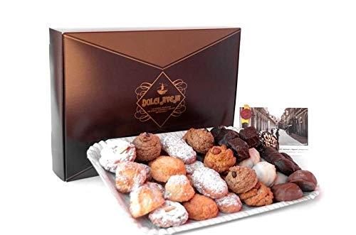 Dolci aveja - pacco pasticceria - scatola decorata e vassoio con pasticceria mista di mandorle e nocciole da 1kg