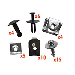myshopx C101 Set Métal Fixation unterfahr Protection unterboden Protection du moteur Clips pince Vis fixation Kit de montage pression rivets schlagniete Rivet en plastique Clips unterfahr Protection Clips de fixation pinces clips de fixation