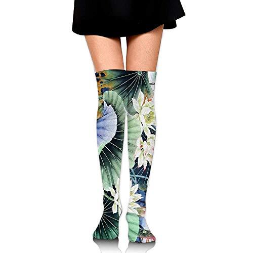 Not afraid Women Crew Socks Thigh High Over Knee Lotus Flower Dress Legging Sport Compression Stocking 50CM Lotus Flower Dress