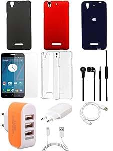 NIROSHA Tempered Glass Screen Guard Cover Case Charger Headphone USB Cable Combo for YU Yureka Combo