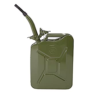 Olymstore NATO Style Metal Jerry Can 20 Liter (5 Gallon) Steel Gas Fuel Tank with Nozzle Spout & Petrol Tight