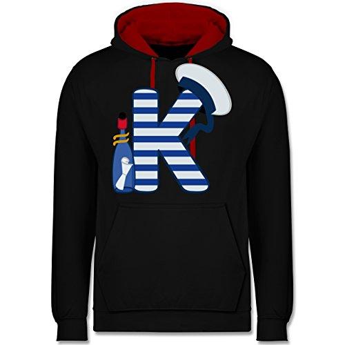 Anfangsbuchstaben - K Schifffahrt - Kontrast Hoodie Schwarz/Rot