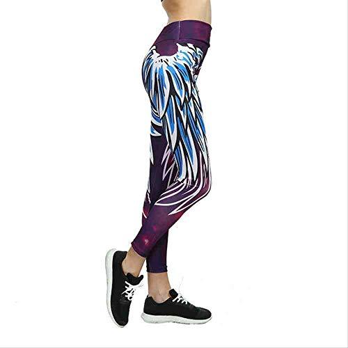 YGKDM Stampa Leggings Donne Push Up Sporting Gym Fitness Pantaloni Athleisure Bodybuilding Sexy Yoga Pant Jogger L Marrone Blu,Brown Blue,L