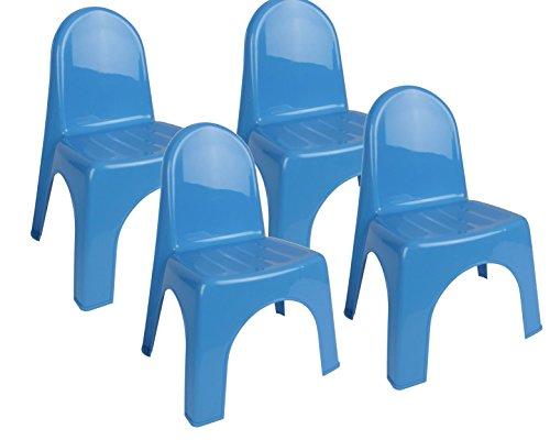 Dynamic24 4X Kinderstuhl Garten Kunststoff Stuhl Stapelstuhl Kinder Möbel Kinderzimmer (Blau)