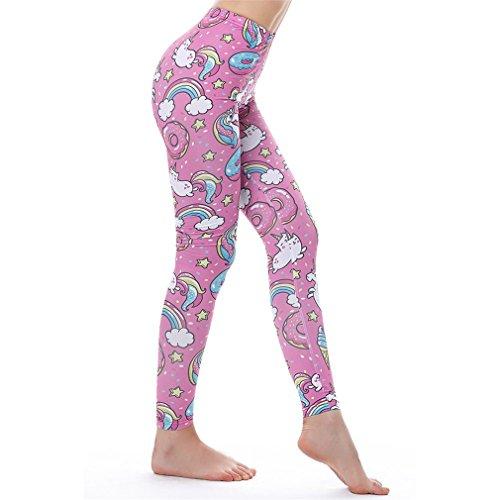 MIDNEFS Einhorn S Frauen Leggins Fitness Sexy Hosen Hohe Taille Push Up Glänzende 3D Gedruckt Regenbogen Star Cat Donuts Unicorn Leggings One Size