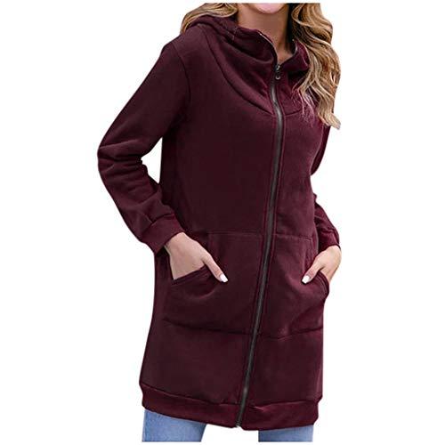 Xmiral Kapuzenjacke Damen Einfarbig Dünn Langärmliges Sweatshirt Langer Jacken Mantel Reißverschluss Tasche Slim Fit Strickjacken(Weinrot,M)