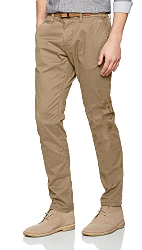 TOM TAILOR Herren Hose Travis Casual Chino w/Belt, Beige (chinchilla 8443), 30/36 (30w Kurze)