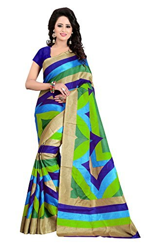 J B Fashion Women's with Blouse Piece Saree (H-saree for women-manisha_Blue_Free Size)