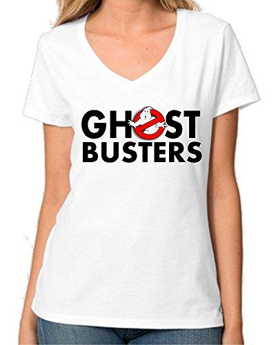 Ghost Busters Logo Red And Black V collo maglietta da donna Small