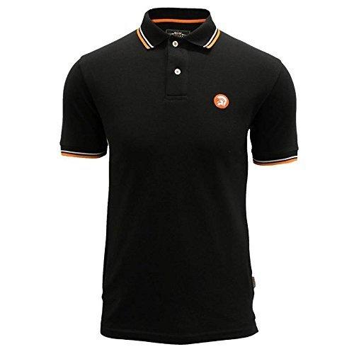 trojan-records-polo-t-shirt-da-uomo-nero-pique-classic-tipped-retro-mod-top-black-x-large