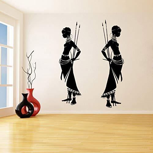 Preisvergleich Produktbild zqyjhkou Haushaltswaren Tribal African Woman Wandaufkleber Für Wohnzimmer Home Art Decor Vinly Wasserdicht Decals Zitate Decals D629 105 x 58 cm