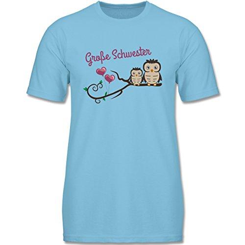 Shirtracer Geschwisterliebe Kind - Große Schwester Süße Eulen - 98 (2-3 Jahre) - Hellblau - F140K - Jungen T-Shirt (Hellblau Große Kinder Bekleidung)