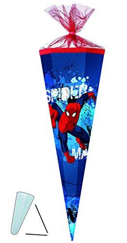 alles-meine.de GmbH Schultüte -  Spider-Man  - 35 cm - rund - mit Tüllabschluß - Zuckertüte - mit / ohne Kunststoff Spitze - für Jungen - Spiderman / Spinnen ()