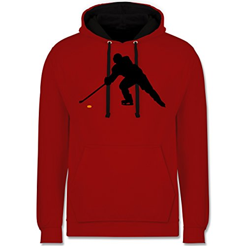 Eishockey - Hockey Player - Kontrast Hoodie Rot/Schwarz