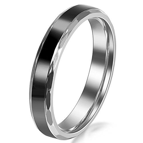 JewelryWe Schmuck Edelstahl Damen-Ring Schwarz Retro Liebe Trauringe Damen Ring für Engagement Versprechen Ewigkeit 4mm Breite Größe 47 bis 65