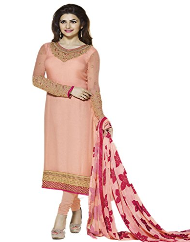 Prachi Desai Lovely Wedding Wear Suit Embroidered Georgette Straight Semi-stitched Salwar Kameez...