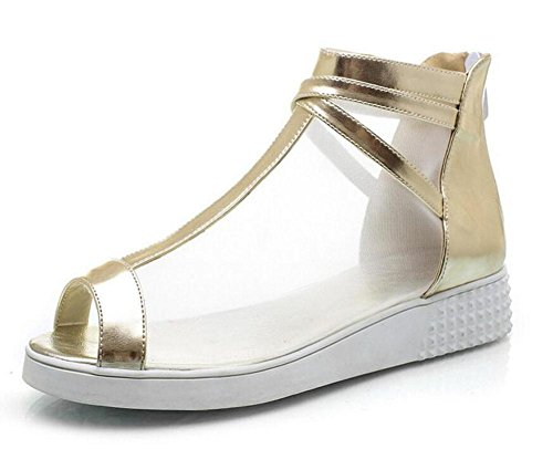 SHINIK Femmes Pumps Net Yarn Peep Toe Sandales High Heel Rome Chaussures Sandales Outdoor Court Chaussures Gold