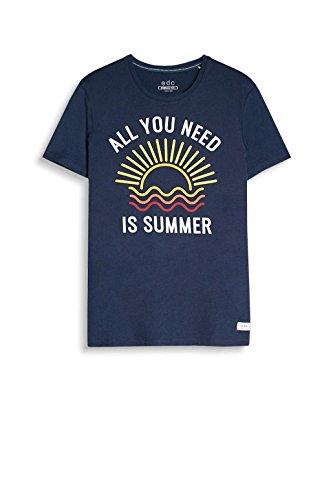 edc by ESPRIT Herren T-Shirt 057cc2k010 Blau (Navy 400)