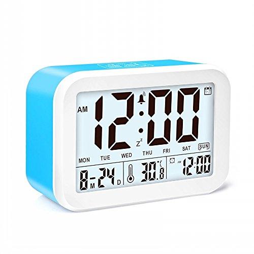 JZK Despertador digital con alarma - con temperatura información de fecha snooze función 3 modo de alarma inteligente para dormitorio niños adultos anciano