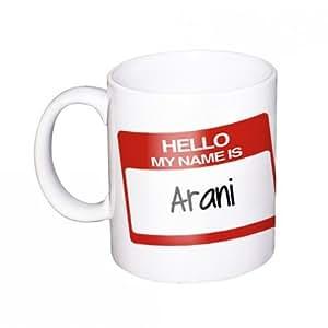"Arani Mug avec nom / Tasse ""Hello my name is"""