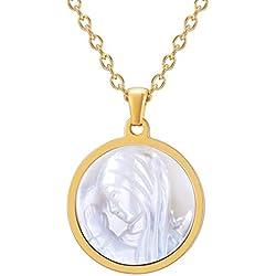 FaithHeart Chaine Medaille Vierge,Medaille Vierge Miraculeuse,Medallion de la Vierge Marie,Medaille Bapteme Marie Or
