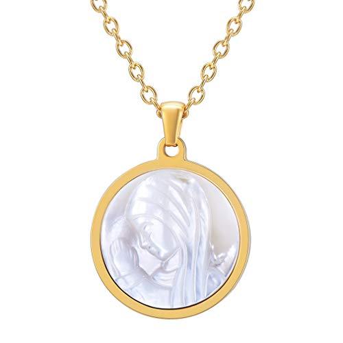 FaithHeart Edelstahl Perlmutt Elfenbein Weiß Runde Tag Virgin Mary Anhänger einstellbar Halskette einstellbar Geschenk für Mutter Freund Tochter Gold