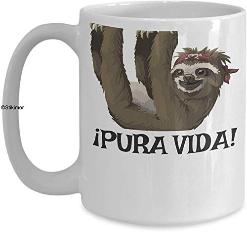 Costa Rica Mug - Pura Vida! Ceramic Coffee Cup - Sloth Mug - Sloth Gifts - Costa Rica Souvenirs by Stikimor
