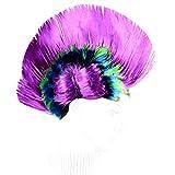 Lamdoo Männer Frauen Unisex Halloween Maskerade Party Punk Mohikaner Mohican Cockscomb Haar Perücke Regenbogen Frisur Kostüm 40x27cm 9 Farben - Lila